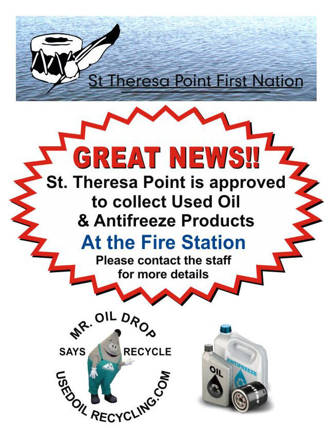 Poster promoting recycling initiative in St. Theresa Point.