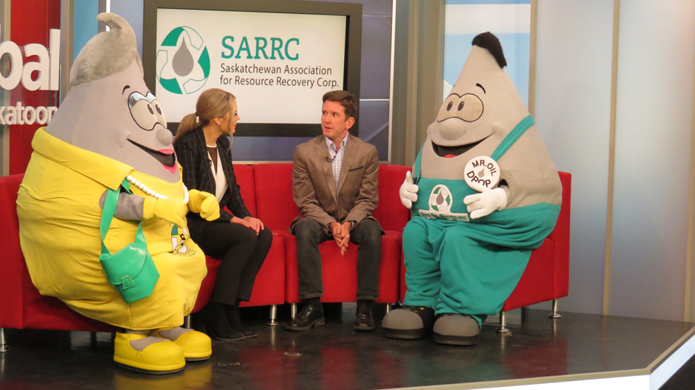 SARRC Ethan with Mr. and Mrs. Oil Drop at Global Saskatoon
